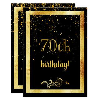 Carte soixante-dixième noir de cadre d'or de fête