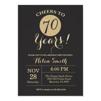 Carte soixante-dixième Noir d'invitation d'anniversaire
