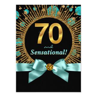 Carte Soixante-dixième or bleu turquoise de fête