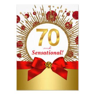 Carte Soixante-dixième rouge et or de fête