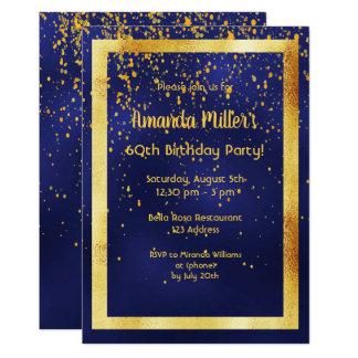 Carte soixantième fête d'anniversaire sur le cadre bleu
