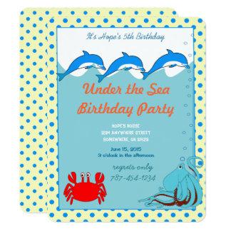 Carte Sous la fête d'anniversaire de crabe de poulpe de
