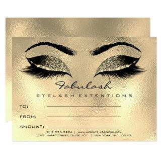 Carte SPA de cadeau de certificat de maquillage d'or de