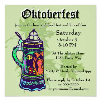 Carte Stein coloré à l'invitation verte d'Oktoberfest