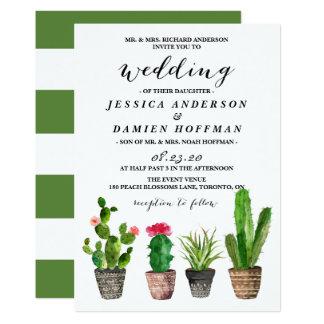 Carte Succulents d'aquarelle de Boho épousant V
