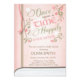 Carte Sur un rose d'invitation de baby shower de livre