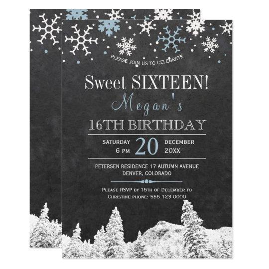 Carte Sweet sixteen chic d'hiver de flocons de neige du