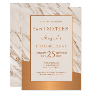 Carte Sweet sixteen de cuivre de marbre moderne élégant