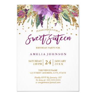 Carte Sweet sixteen de scintillement d'améthyste de
