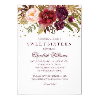 Carte Sweet sixteen de scintillement de Bourgogne de