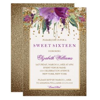 Carte Sweet sixteen de scintillement floral d'améthyste