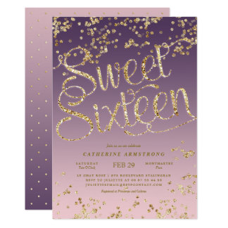 Carte Sweet sixteen rose de parties scintillantes d'or