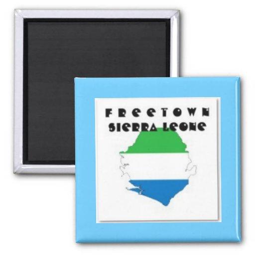 CARTE, T-SHIRT ET ETC. DE SIERRA LEONE (FREETOWN) AIMANTS POUR RÉFRIGÉRATEUR