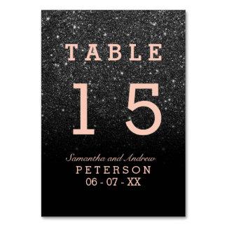Carte Table rose de mariage d'or d'ombre noir de parties