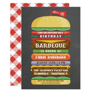 Carte Tableau empilé de BBQ d'anniversaire d'hamburger