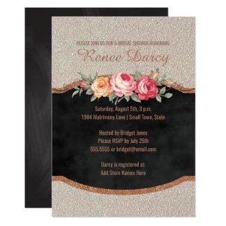 Carte Tableau rose nuptiale d'or de la douche | de