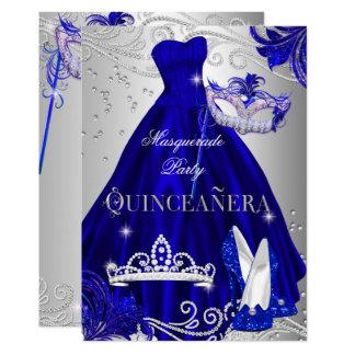 Carte Talons argentés bleus de robe de Quinceanera de