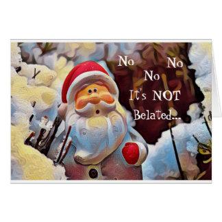 Carte tardive drôle de Père Noël