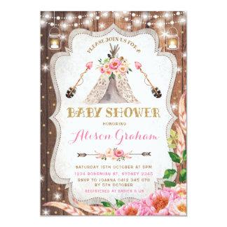 Carte Teepee floral de Boho d'invitation tribale de baby