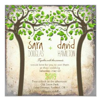 Carte Tenir le mariage rustique d'Eco d'amour d'arbres
