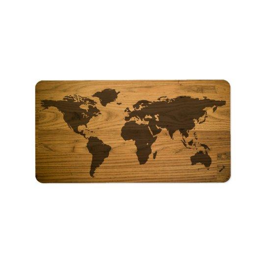 Carte texturisée du monde de fibre de bois étiquette d'adresse
