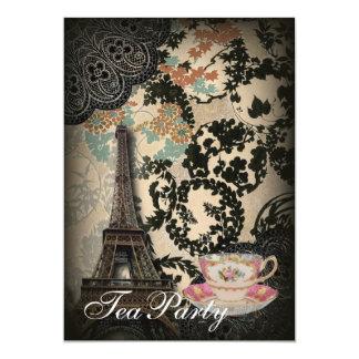 Carte Thé floral sophistiqué de cru de dentelle de Paris
