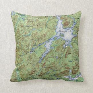 Carte topographique de New York de lac vintage Coussin Décoratif