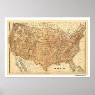 Carte topographique des Etats-Unis - 1883 Posters