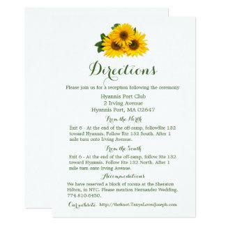 Carte Tournesol jaune de détails floraux de directions -