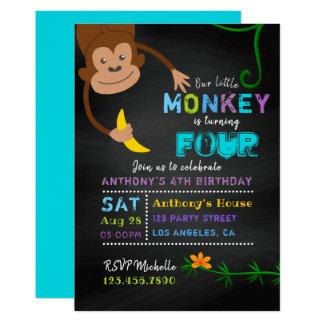 Carte Tout anniversaire de garçon de singe de tableau