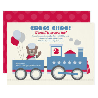 Carte Train de l'invitation | Choo Choo de fête