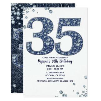 Carte Trente-cinquième anniversaire 35 de denim et