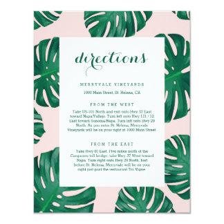 Carte tropicale de directions de mariage de plage carton d'invitation 10,79 cm x 13,97 cm