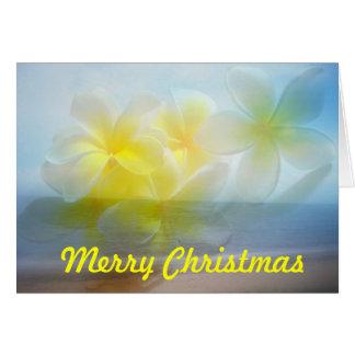Carte tropicale de Joyeux Noël de frangipani de