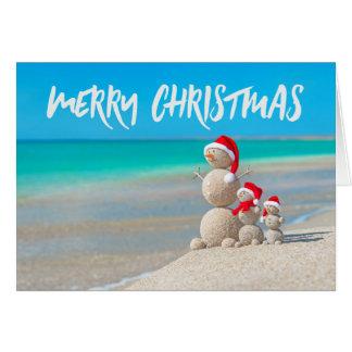 Carte tropicale de Joyeux Noël de sable de