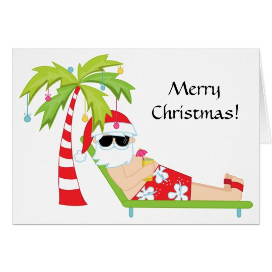 Carte tropicale/de palmier père noël de Noël