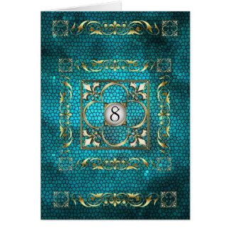 Carte turquoise de Tableau en verre souillé de Fle