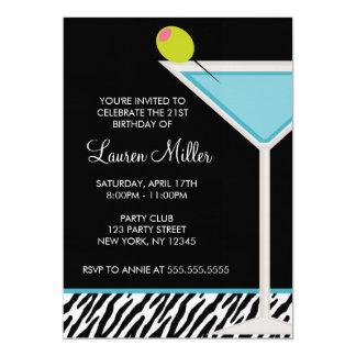 Carte Turquoise Martini et motif de zèbre