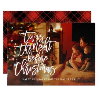 Carte 'Twas la nuit avant photo de vacances de Noël