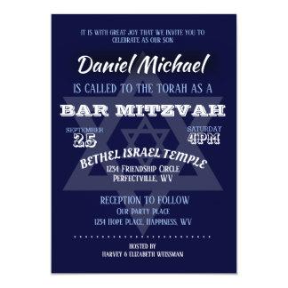 Carte Typographie de bleu de Mitzvah de barre