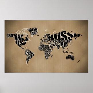 Carte typographique du monde affiche