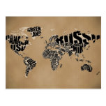 Carte typographique du monde cartes postales