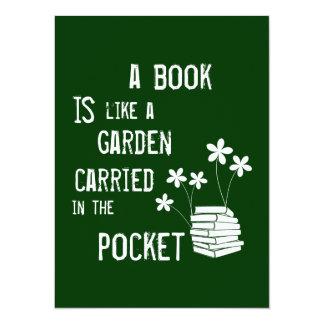 Carte Un livre est comme un jardin a porté dedans la