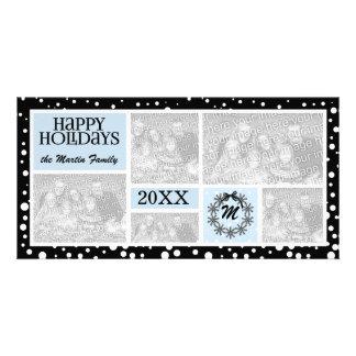 Carte Vacances bleues et noires décorées d'un monogramme
