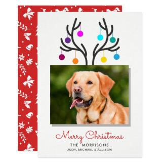 Carte Vacances d'animal familier de photo d'Antler de