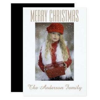 Carte Vacances noires simples de Noël de photo d'or