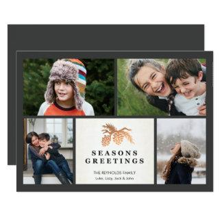 Carte Vacances roses Photocard de cône de pin d'or de