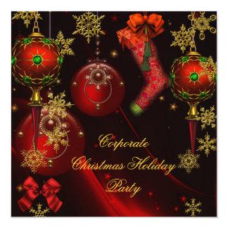 Carte Vacances rouges d'or de FÊTE DE NOËL d'entreprise