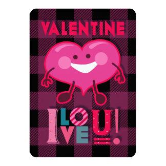Carte Valentine je t'aime ! Caractère mignon de coeur,