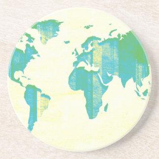 Carte vert-bleu en pastel de rayures dessous de verres
